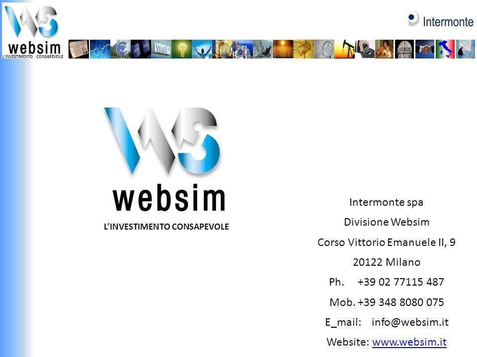 LINVESTIMENTO CONSAPEVOLE Intermonte spa Divisione Websim Corso Vittorio Emanuele II, 9 20122 Milano Ph. +39 02 77115 487 Mob. +39 348 8080 075 E_mail