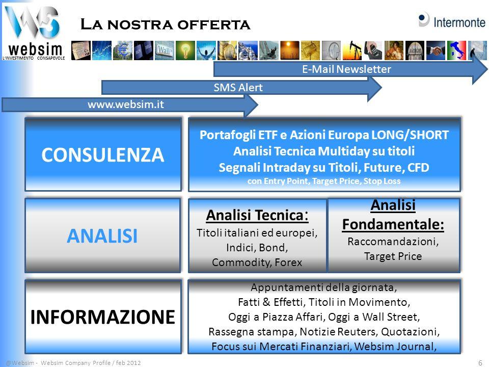 LINVESTIMENTO CONSAPEVOLE La nostra offerta @Websim - Websim Company Profile / feb 2012 6 Portafogli ETF e Azioni Europa LONG/SHORT Analisi Tecnica Mu