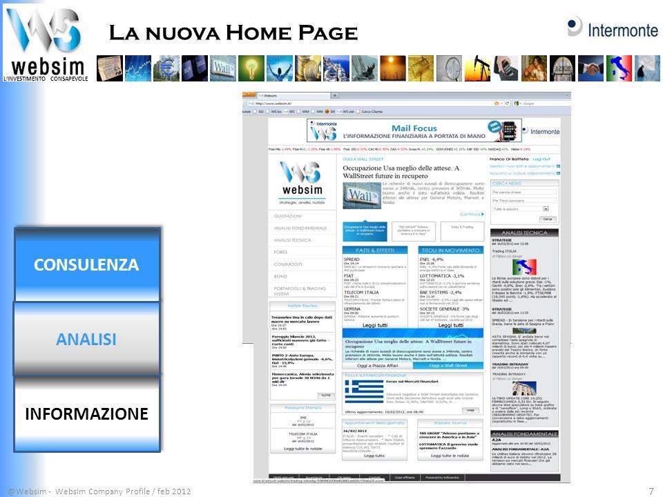 LINVESTIMENTO CONSAPEVOLE La nuova Home Page @Websim - Websim Company Profile / feb 2012 8 INFORMAZIONE ANALISI CONSULENZA