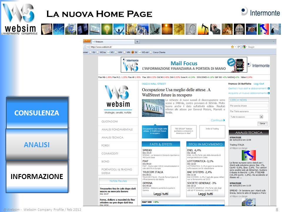 LINVESTIMENTO CONSAPEVOLE Etf Portfolio @Websim - Websim Company Profile / feb 2012 19 CONSULENZA