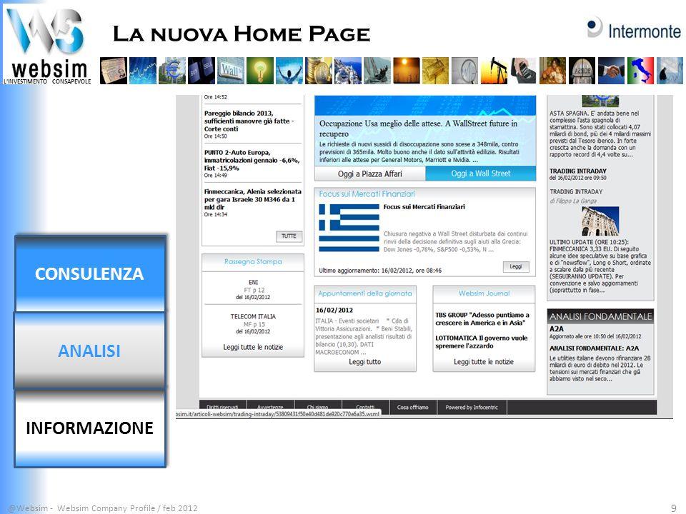 LINVESTIMENTO CONSAPEVOLE La nuova Home Page @Websim - Websim Company Profile / feb 2012 9 INFORMAZIONE ANALISI CONSULENZA