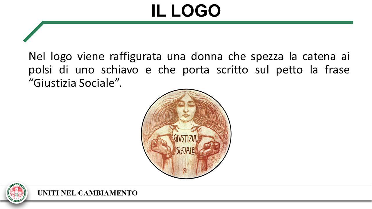 IL LOGO Nel logo viene raffigurata una donna che spezza la catena ai polsi di uno schiavo e che porta scritto sul petto la frase Giustizia Sociale.