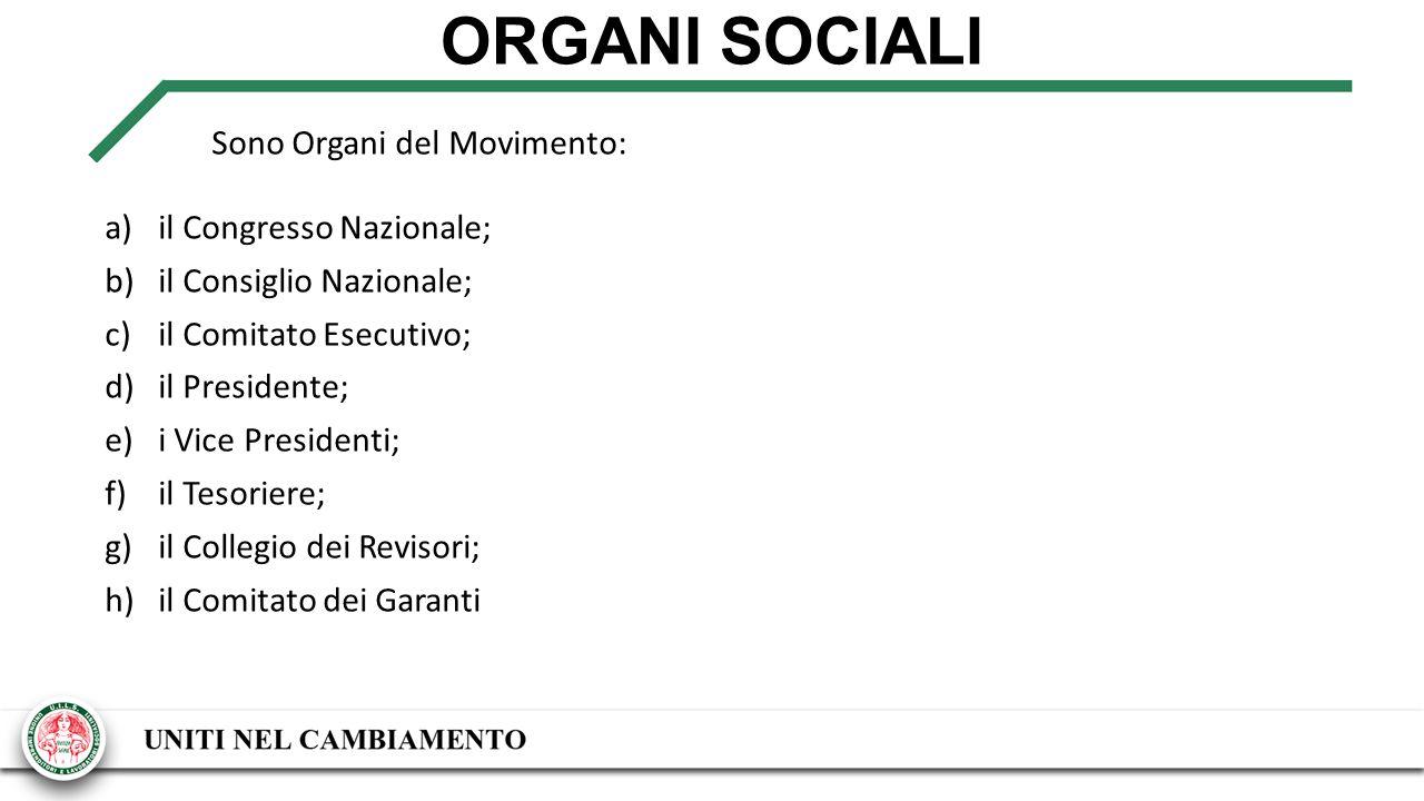 ORGANI SOCIALI Sono Organi del Movimento: a)il Congresso Nazionale; b)il Consiglio Nazionale; c)il Comitato Esecutivo; d)il Presidente; e)i Vice Presidenti; f)il Tesoriere; g)il Collegio dei Revisori; h)il Comitato dei Garanti