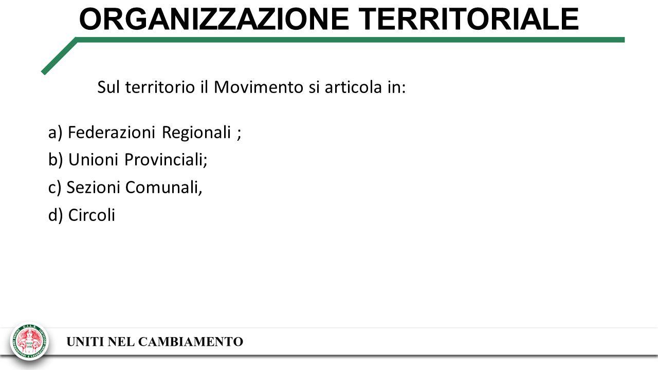 ORGANIZZAZIONE TERRITORIALE Sul territorio il Movimento si articola in: a) Federazioni Regionali ; b) Unioni Provinciali; c) Sezioni Comunali, d) Circoli