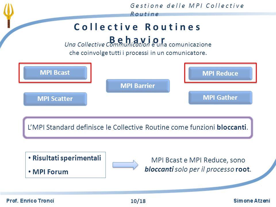 Gestione delle MPI Collective Routine Collective Routines Behavior Una Collective Communication è una comunicazione che coinvolge tutti i processi in un comunicatore.