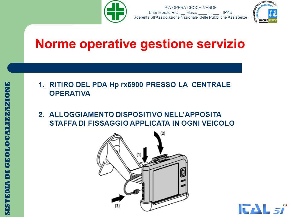Norme operative gestione servizio SISTEMA DI GEOLOCALIZZAZIONE 1.RITIRO DEL PDA Hp rx5900 PRESSO LA CENTRALE OPERATIVA 2.ALLOGGIAMENTO DISPOSITIVO NEL