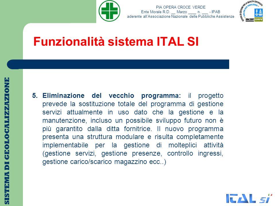 Funzionalità sistema ITAL SI SISTEMA DI GEOLOCALIZZAZIONE 5.Eliminazione del vecchio programma: il progetto prevede la sostituzione totale del program