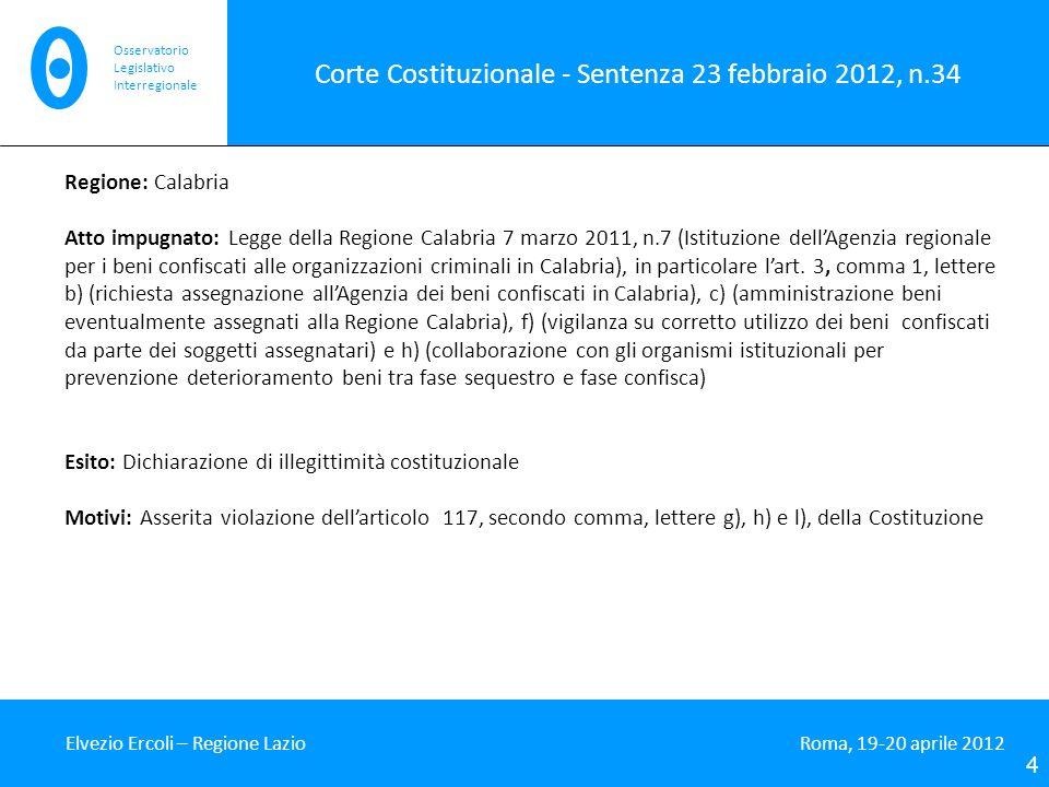 Corte Costituzionale - Sentenza 23 febbraio 2012, n.35 Elvezio Ercoli – Regione Lazio Roma, 19-20 aprile 2012 5 Osservatorio Legislativo Interregionale Regione: Calabria Atto impugnato: Art.
