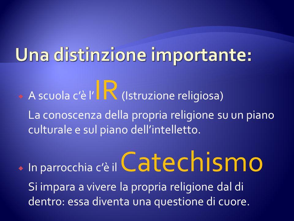 A scuola cè l IR (Istruzione religiosa) La conoscenza della propria religione su un piano culturale e sul piano dellintelletto. In parrocchia cè il Ca