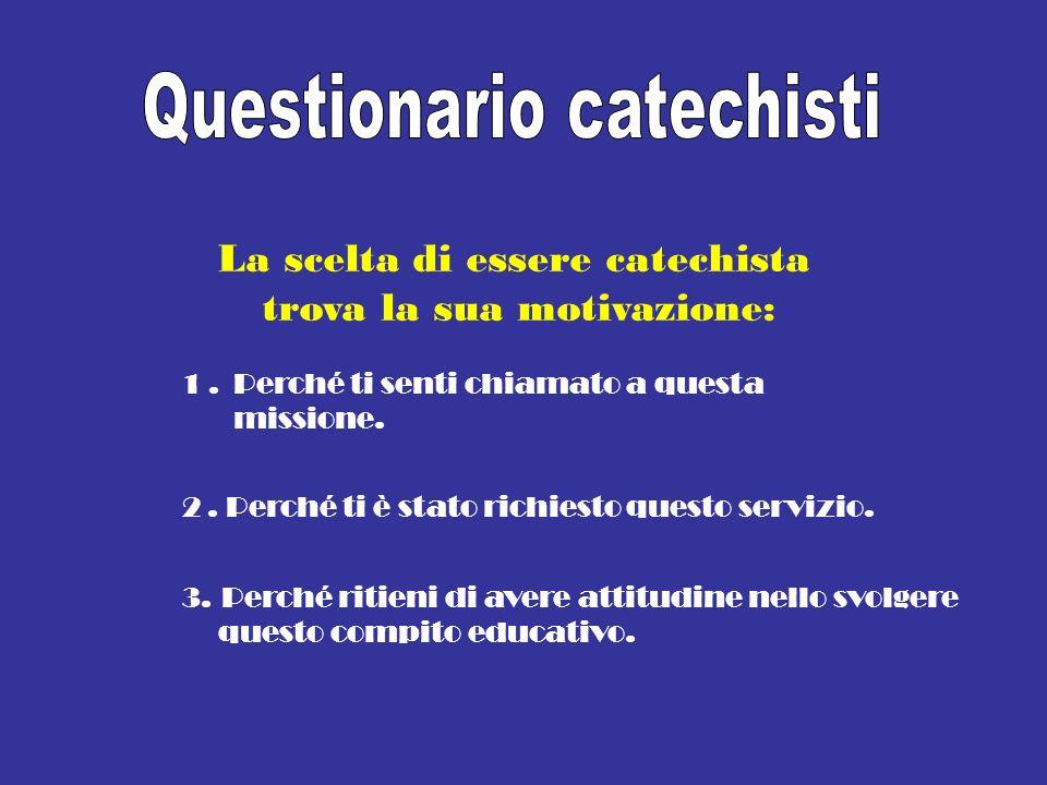 La scelta di essere catechista trova la sua motivazione: 1.