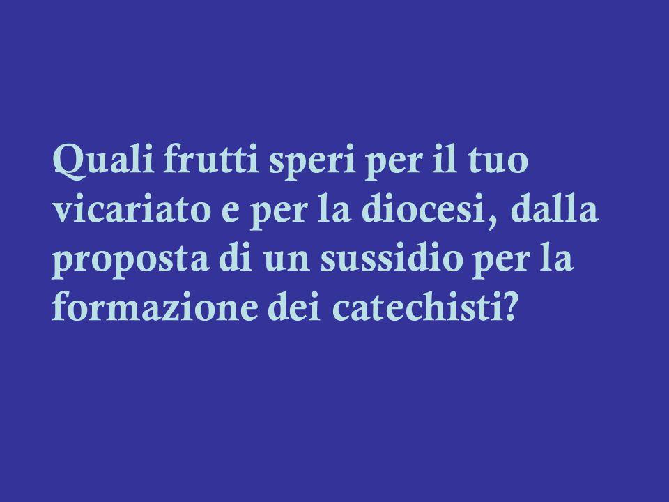 Quali frutti speri per il tuo vicariato e per la diocesi, dalla proposta di un sussidio per la formazione dei catechisti