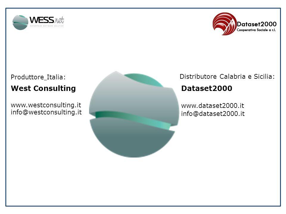 Produttore Italia: West Consulting www.westconsulting.it info@westconsulting.it Distributore Calabria e Sicilia: Dataset2000 www.dataset2000.it info@d