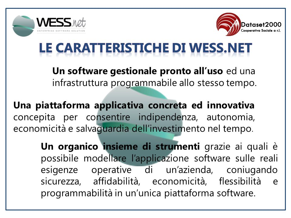 Un green software, paper-less office oriented con tutto integrato, comprese MAIL, PDF ed archiviazione DIGITALE.