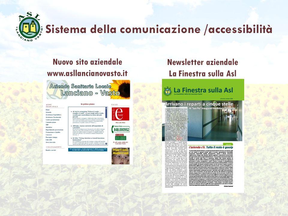 Sistema della comunicazione /accessibilità Nuovo sito aziendale www.asllancianovasto.it Newsletter aziendale La Finestra sulla Asl