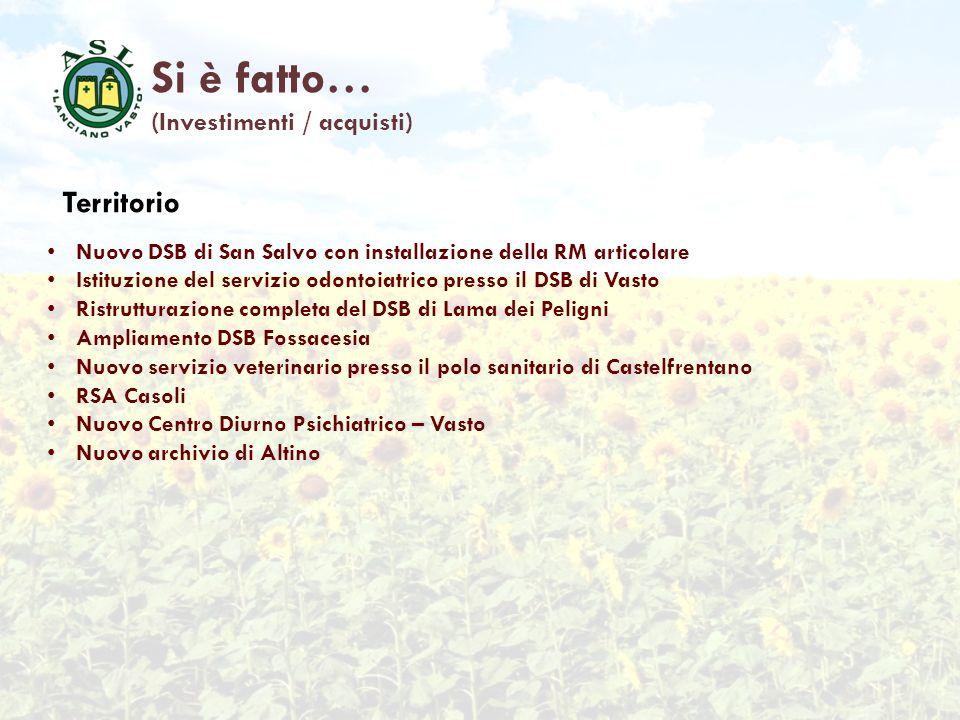Si è fatto… (Investimenti / acquisti) Territorio Nuovo DSB di San Salvo con installazione della RM articolare Istituzione del servizio odontoiatrico p