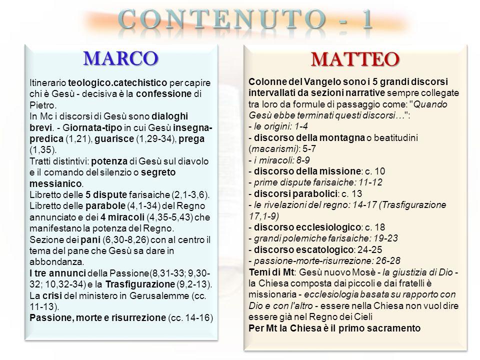 MARCO Itinerario teologico.catechistico per capire chi è Gesù - decisiva è la confessione di Pietro. In Mc i discorsi di Gesù sono dialoghi brevi. - G
