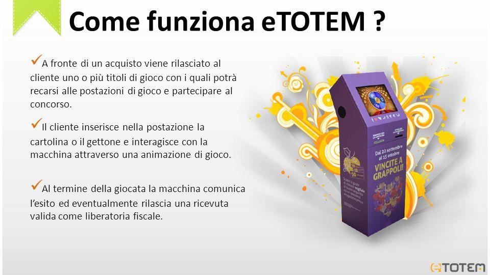 Come funziona eTOTEM ? A fronte di un acquisto viene rilasciato al cliente uno o più titoli di gioco con i quali potrà recarsi alle postazioni di gioc
