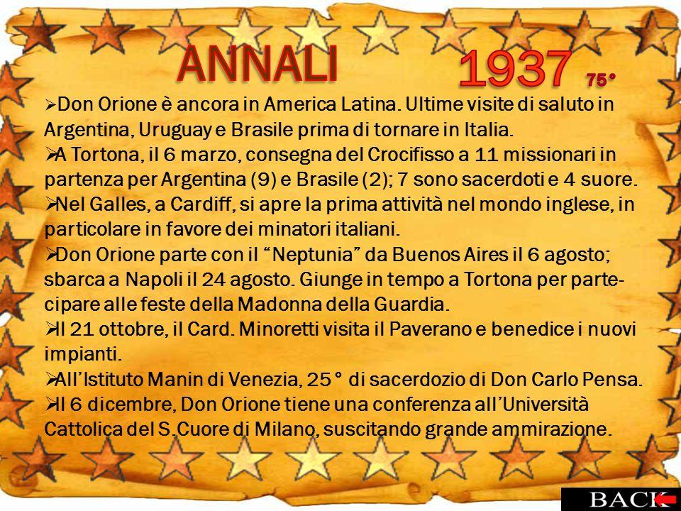 Don Orione è ancora in America Latina. Ultime visite di saluto in Argentina, Uruguay e Brasile prima di tornare in Italia. A Tortona, il 6 marzo, cons