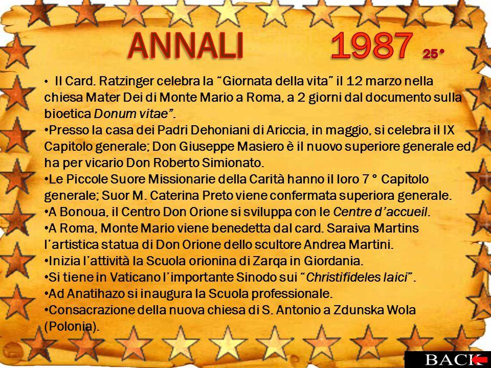 Il Card. Ratzinger celebra la Giornata della vita il 12 marzo nella chiesa Mater Dei di Monte Mario a Roma, a 2 giorni dal documento sulla bioetica Do