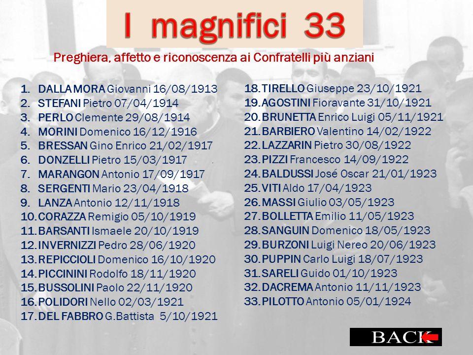 1.DALLA MORA Giovanni 16/08/1913 2.STEFANI Pietro 07/04/1914 3.PERLO Clemente 29/08/1914 4.MORINI Domenico 16/12/1916 5.BRESSAN Gino Enrico 21/02/1917