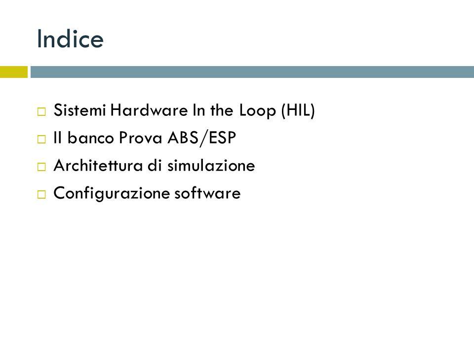Sistemi HIL Con Hardware-in-the-Loop (HIL) si indicano quelle tecniche di sperimentazione (testing) che prevedono di estrapolare un componente in esame (Hardware) dal sistema in cui è inserito e di ricreare a banco, mediante lutilizzo di opportuni sistemi, le condizioni di funzionamento reali.