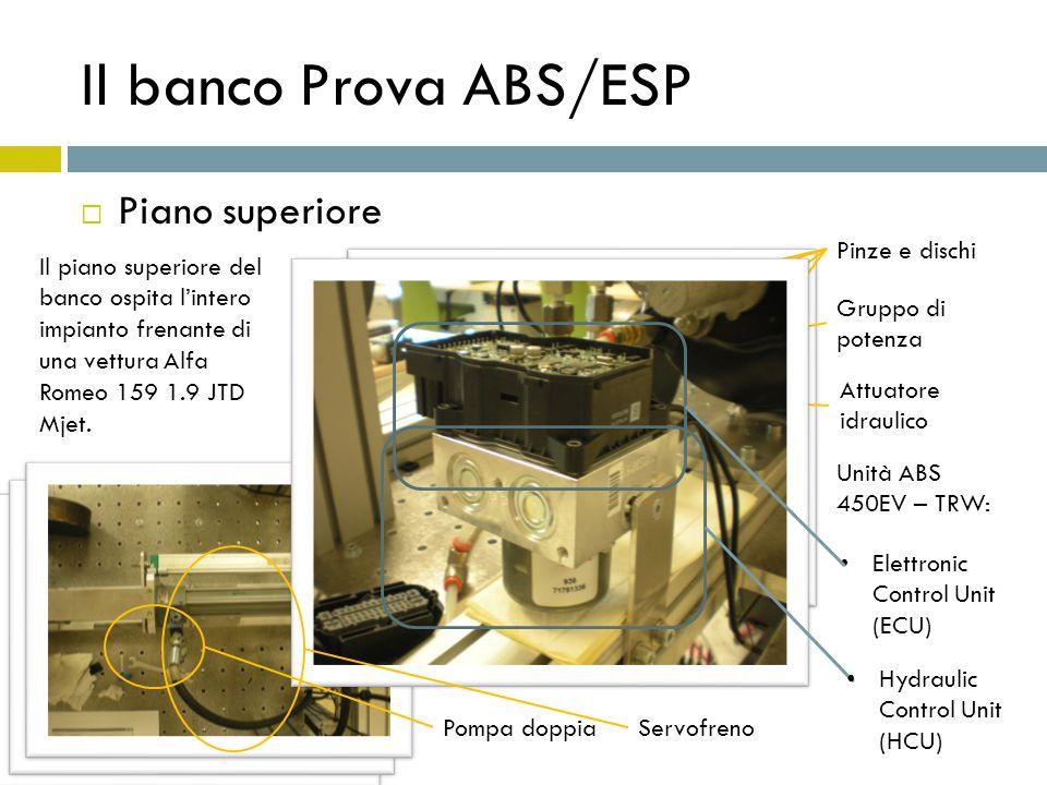 Il banco Prova ABS/ESP Piano inferiore Il piano inferiore ospita tutta la circuiteria di condizionamento e la strumentazione per il funzionamento in Real-Time del banco.