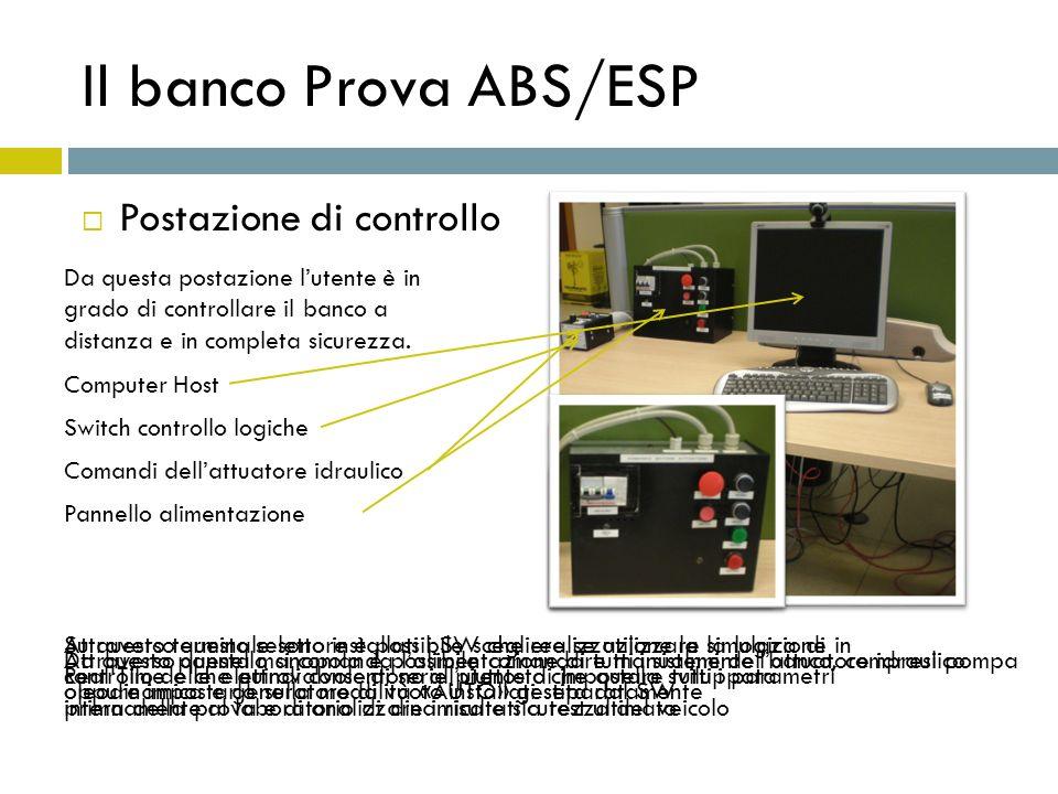 Il banco Prova ABS/ESP Postazione di controllo Da questa postazione lutente è in grado di controllare il banco a distanza e in completa sicurezza. Com