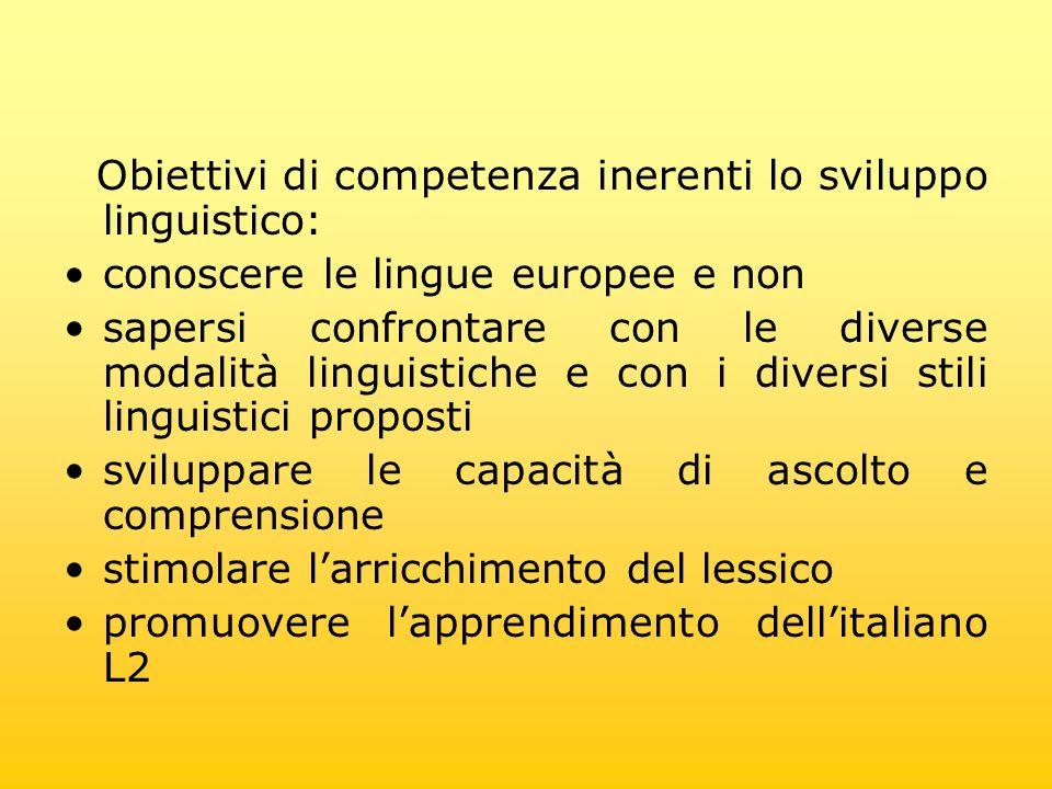 Obiettivi di competenza inerenti lo sviluppo linguistico: conoscere le lingue europee e non sapersi confrontare con le diverse modalità linguistiche e