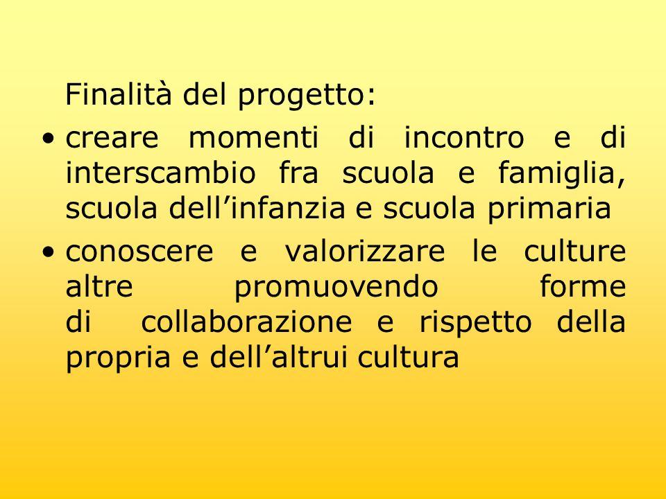 Finalità del progetto: creare momenti di incontro e di interscambio fra scuola e famiglia, scuola dellinfanzia e scuola primaria conoscere e valorizza