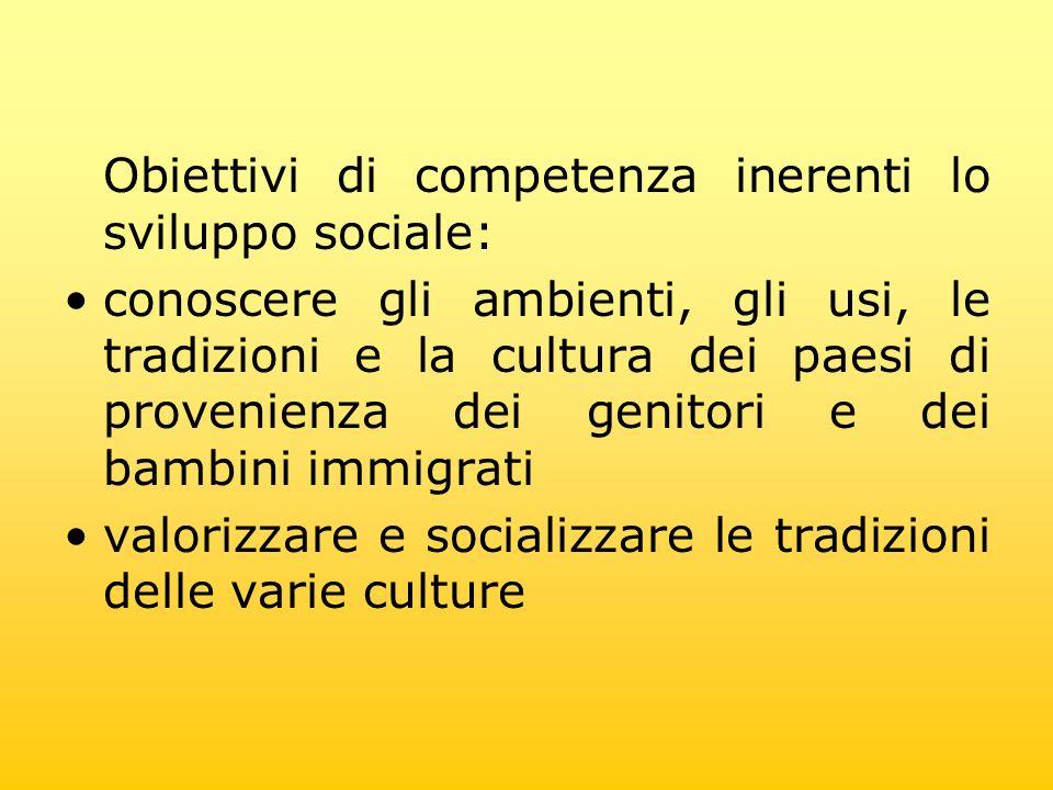 Obiettivi di competenza inerenti lo sviluppo sociale: conoscere gli ambienti, gli usi, le tradizioni e la cultura dei paesi di provenienza dei genitor