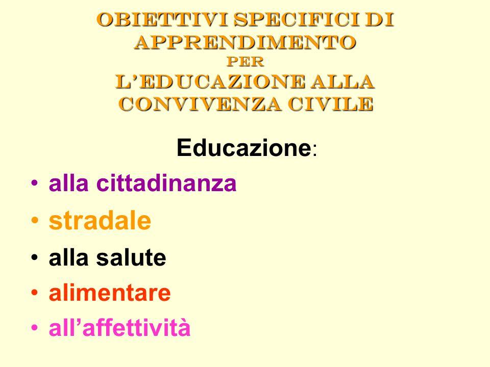 Obiettivi specifici di apprendimento per leducazione alla convivenza civile Educazione : alla cittadinanza stradale alla salute alimentare allaffettiv