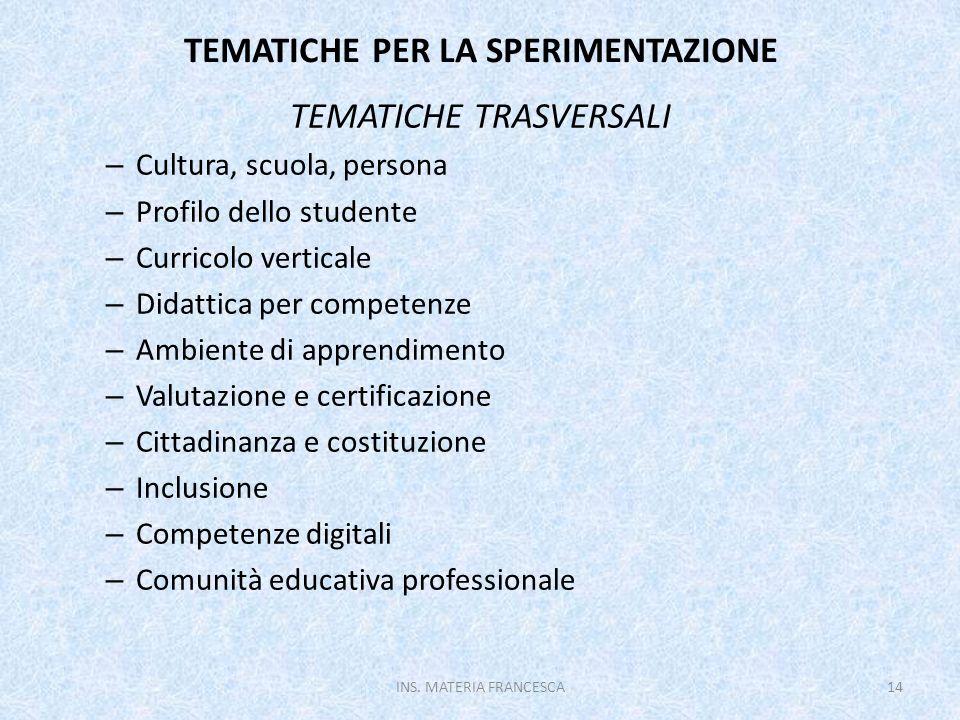 TEMATICHE PER LA SPERIMENTAZIONE TEMATICHE TRASVERSALI – Cultura, scuola, persona – Profilo dello studente – Curricolo verticale – Didattica per compe
