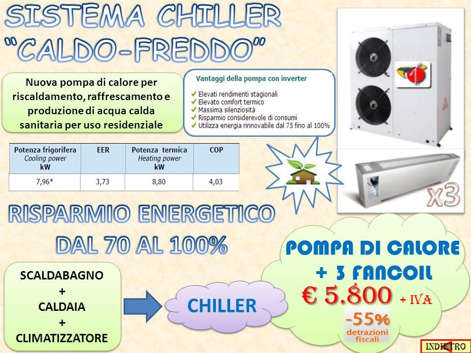 Nuova pompa di calore per riscaldamento, raffrescamento e produzione di acqua calda sanitaria per uso residenziale POMPA DI CALORE + 3 FANCOIL 5.800 5.800 + IVA SCALDABAGNO + CALDAIA + CLIMATIZZATORE SCALDABAGNO + CALDAIA + CLIMATIZZATORE CHILLER INDIETRO