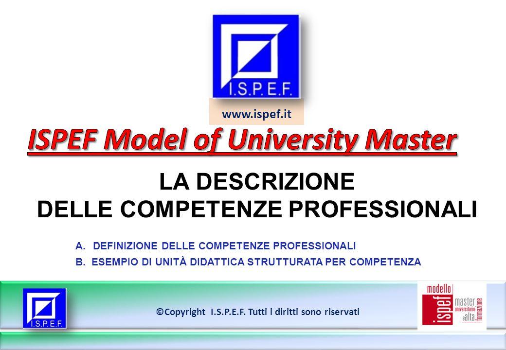 www.ispef.it LA DESCRIZIONE DELLE COMPETENZE PROFESSIONALI ©Copyright I.S.P.E.F.