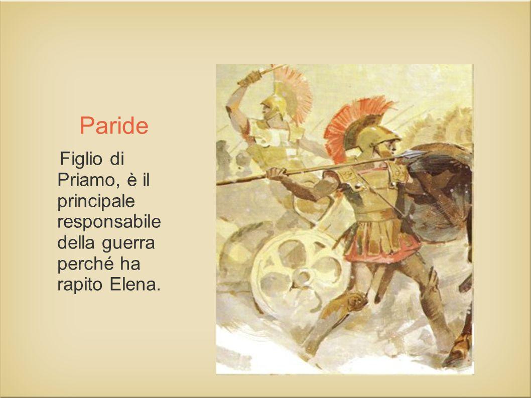 Paride Figlio di Priamo, è il principale responsabile della guerra perché ha rapito Elena.