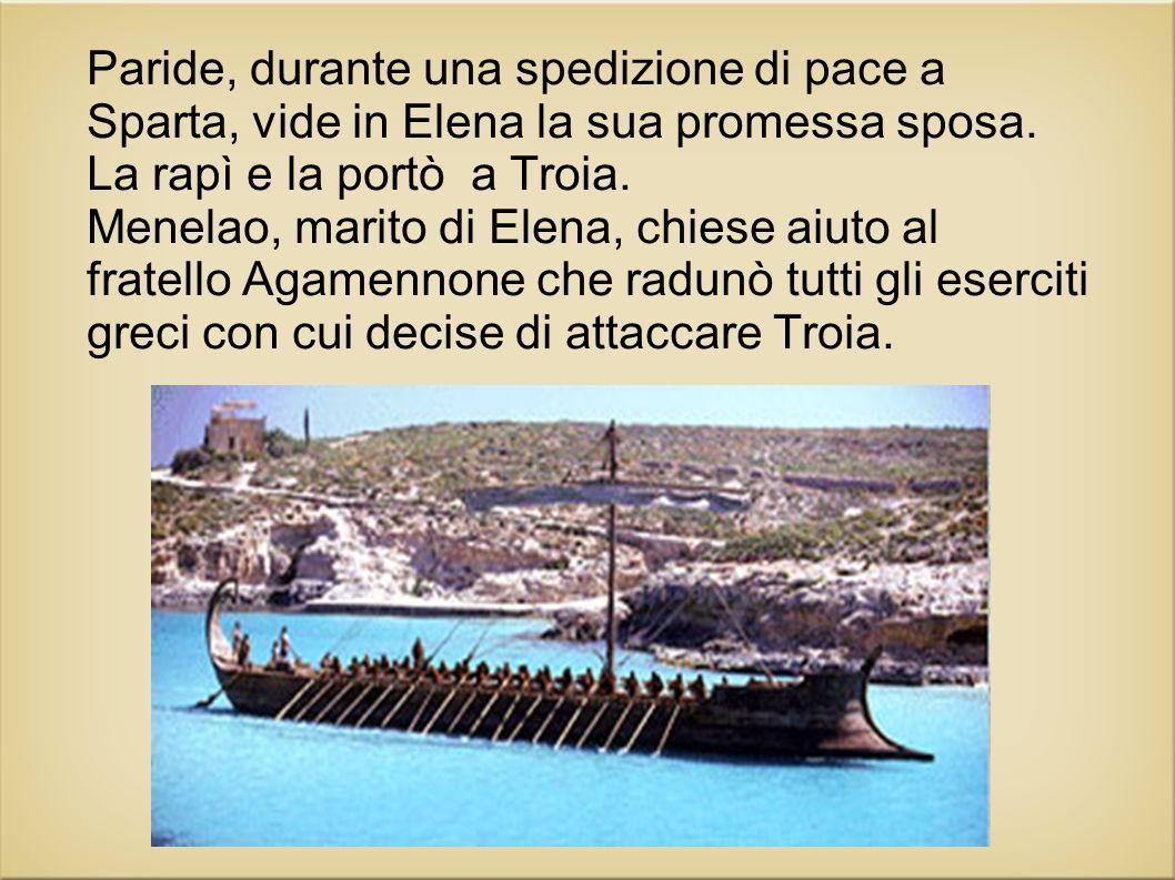 Paride, durante una spedizione di pace a Sparta, vide in Elena la sua promessa sposa. La rapì e la portò a Troia. Menelao, marito di Elena, chiese aiu