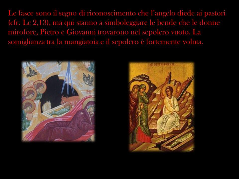 Le fasce sono il segno di riconoscimento che langelo diede ai pastori (cfr. Lc 2,13), ma qui stanno a simboleggiare le bende che le donne mirofore, Pi