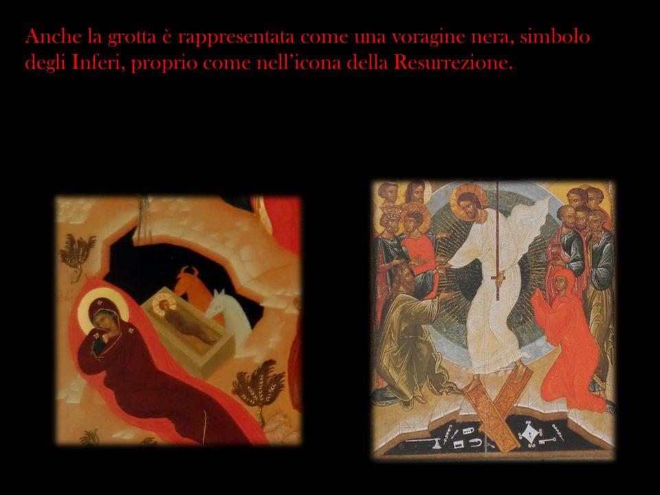 Anche la grotta è rappresentata come una voragine nera, simbolo degli Inferi, proprio come nellicona della Resurrezione.