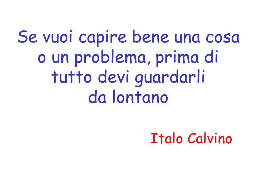 Se vuoi capire bene una cosa o un problema, prima di tutto devi guardarli da lontano Italo Calvino