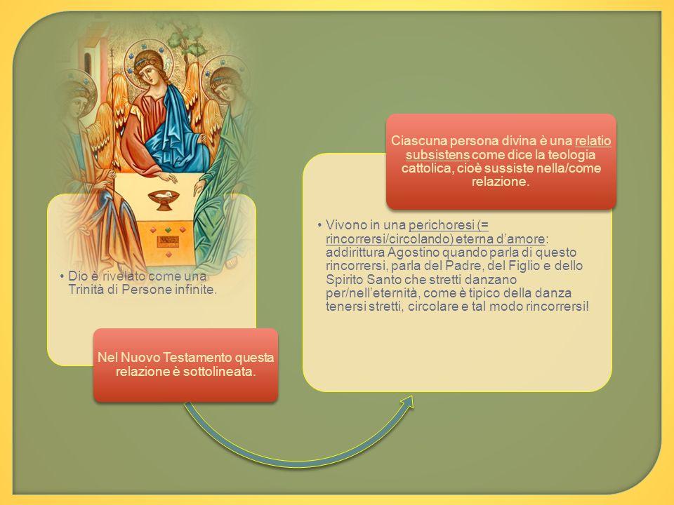 Dio è rivelato come una Trinità di Persone infinite. Nel Nuovo Testamento questa relazione è sottolineata. Vivono in una perichoresi (= rincorrersi/ci