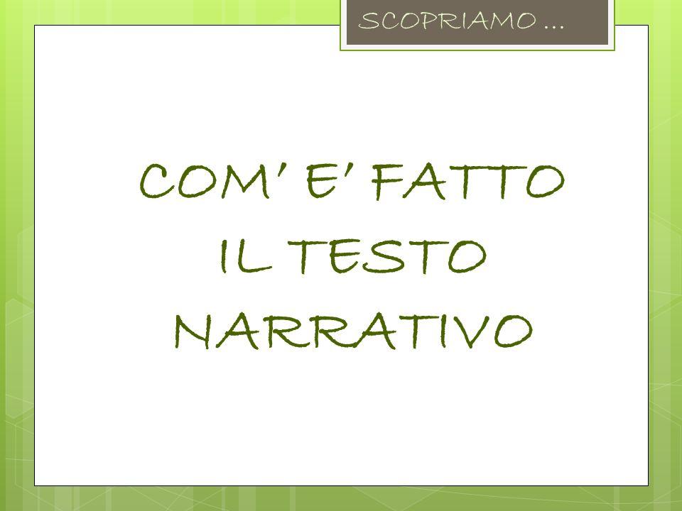 COM E FATTO IL TESTO NARRATIVO SCOPRIAMO...