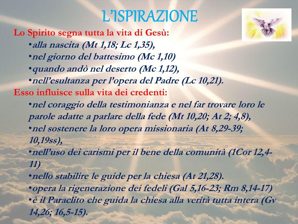 LISPIRAZIONE Lo Spirito segna tutta la vita di Gesù: alla nascita (Mt 1,18; Lc 1,35), nel giorno del battesimo (Mc 1,10) quando andò nel deserto (Mc 1
