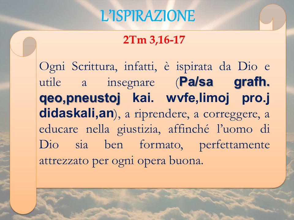 LISPIRAZIONE 2Tm 3,16-17 Pa/sa grafh. qeo,pneustoj Ogni Scrittura, infatti, è ispirata da Dio e utile a insegnare ( Pa/sa grafh. qeo,pneustoj kai. wvf