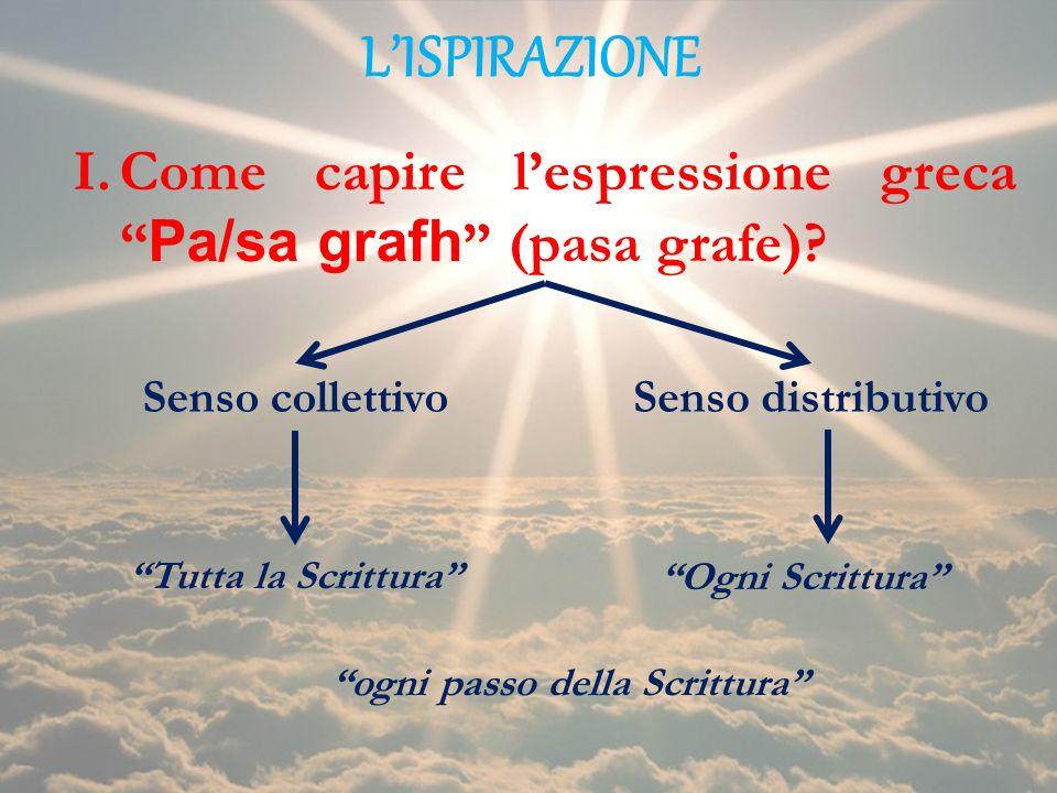 LISPIRAZIONE I.Come capire lespressione greca Pa/sa grafh (pasa grafe)? Senso collettivoSenso distributivo Tutta la Scrittura Ogni Scrittura ogni pass