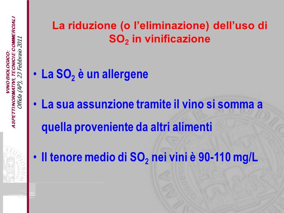 VINO BIOLOGICO: ASPETTI NORMATIVI, TECNICI E COMMERCIALI Offida (AP), 23 Febbraio 2011 La SO 2 è un allergene La sua assunzione tramite il vino si som
