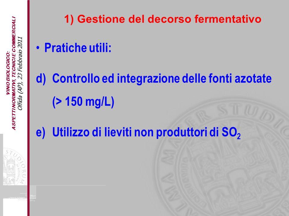 VINO BIOLOGICO: ASPETTI NORMATIVI, TECNICI E COMMERCIALI Offida (AP), 23 Febbraio 2011 Pratiche utili: d)Controllo ed integrazione delle fonti azotate