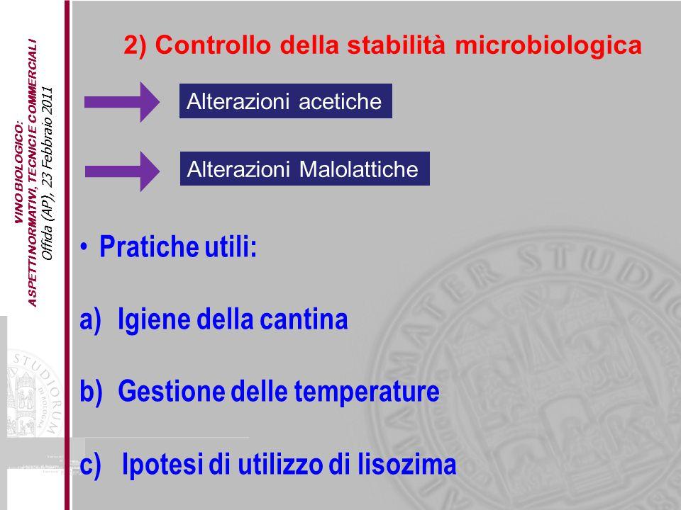 VINO BIOLOGICO: ASPETTI NORMATIVI, TECNICI E COMMERCIALI Offida (AP), 23 Febbraio 2011 2) Controllo della stabilità microbiologica Alterazioni acetich
