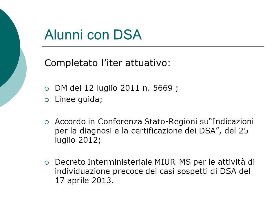 Alunni con DSA Completato liter attuativo: DM del 12 luglio 2011 n. 5669 ; Linee guida; Accordo in Conferenza Stato-Regioni suIndicazioni per la diagn