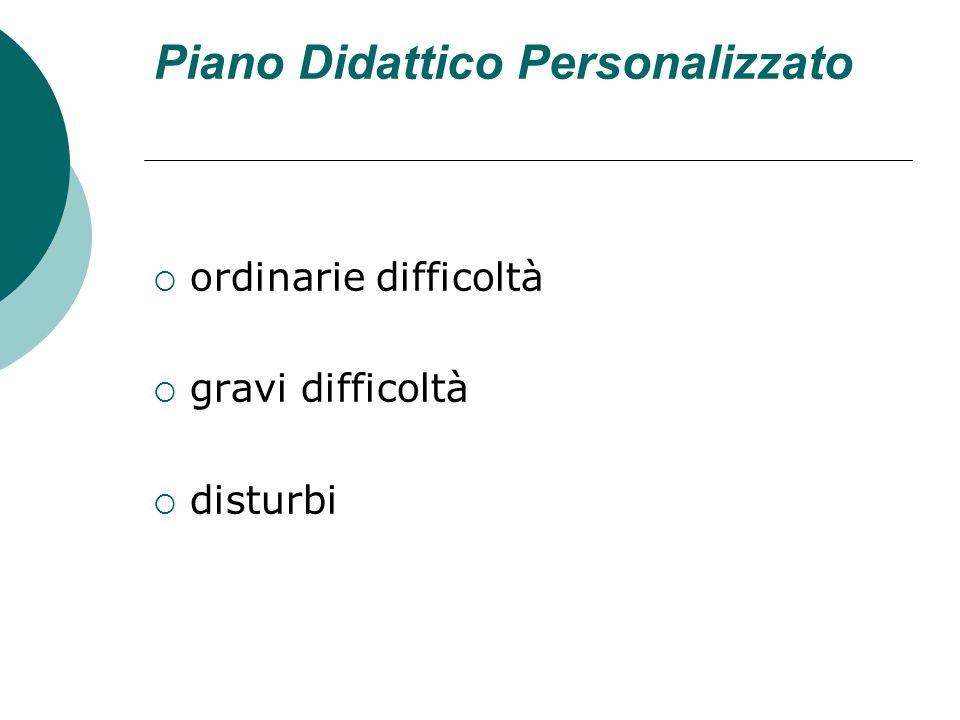 Piano Didattico Personalizzato ordinarie difficoltà gravi difficoltà disturbi