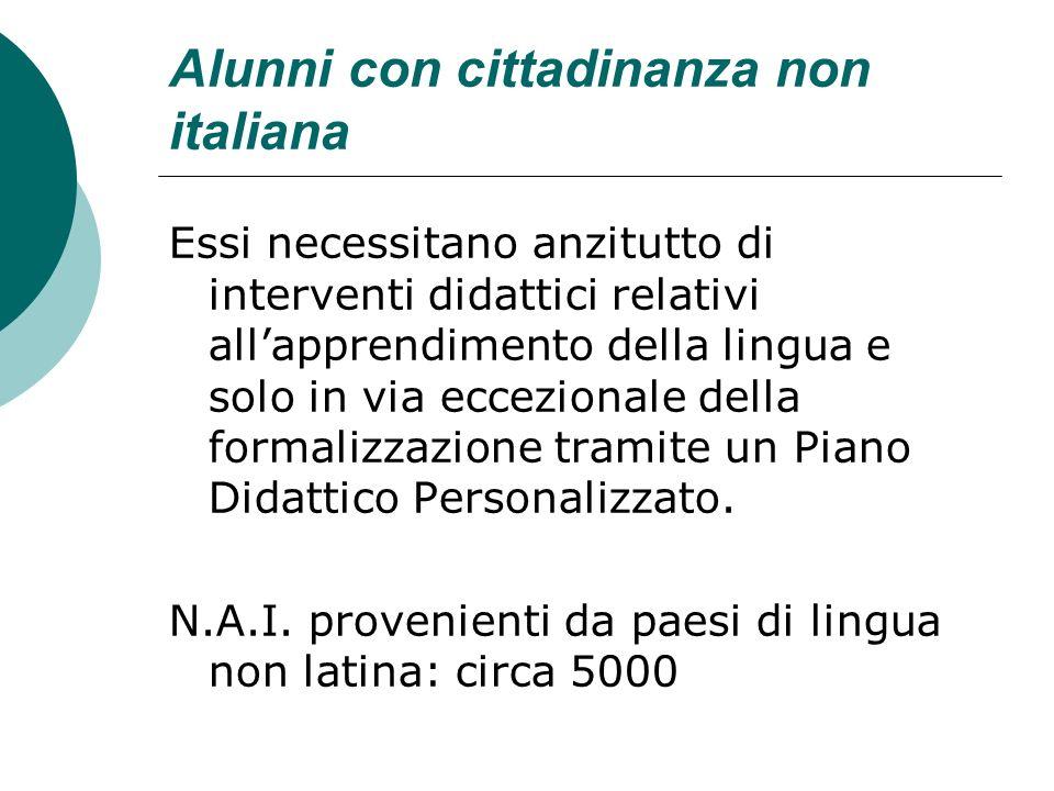 Alunni con cittadinanza non italiana Essi necessitano anzitutto di interventi didattici relativi allapprendimento della lingua e solo in via eccezionale della formalizzazione tramite un Piano Didattico Personalizzato.